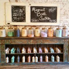 Bath salt display and soap display idea for at a craft fair