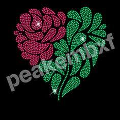Rose Crystal Transfers Rhinestone Valentine Design 30 pcs Hotfix Design