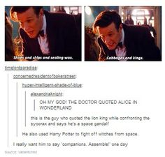 The Doctor makes nerdy references, and his fandom understands.