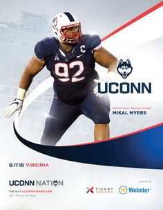 The 2016 @uconnhuskies Roster Card vs. Virginia Cavaliers features defensive lineman standout senior Mikal Myers.