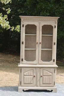 never a dull day...: Creamy Distressed China Cabinet