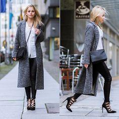 Caro Daur - Zara Shoes, Celine Bag - Grey coat