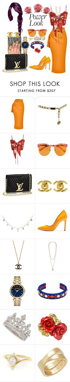 """Summertime"" by iffieluv ❤ liked on Polyvore featuring Maticevski, Chanel, Johanna Ortiz, Gentle Monster, Luna Skye, Rupert Sanderson, Givenchy, Karl Lagerfeld, Gucci and Garrard"