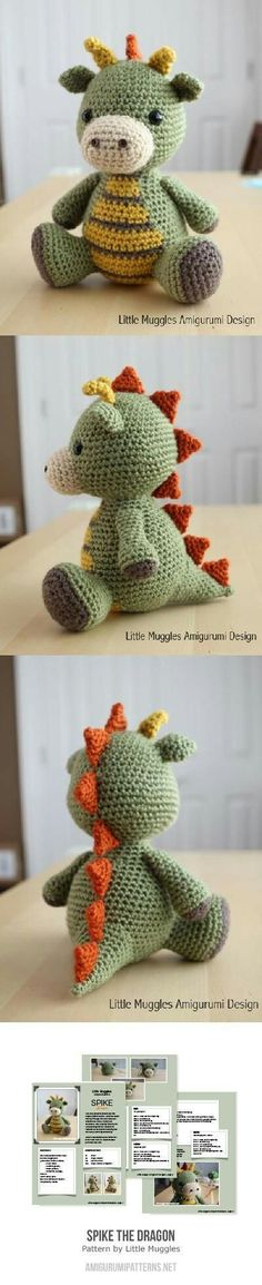 Baby Knitting Patterns Buy Spike the Dragon amigurumi pattern - AmigurumiPatterns. Crochet Diy, Crochet Whale, Crochet Amigurumi, Amigurumi Patterns, Crochet Crafts, Yarn Crafts, Crochet Animals, Crochet For Baby, Crochet Dinosaur Pattern Free