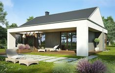 Zdjęcie projektu Blanka II WRP1518 House Elevation, Indoor Outdoor, Outdoor Decor, Home Fashion, House Plans, Bedrooms, House Design, Patio, House Styles