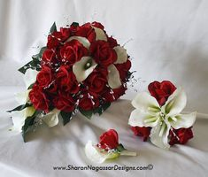 The large bouquet - but with real flowers - would be a good bridal bouquet.  Red roses with a splash of white calla lilies.  Red rose boutonnieres for groomsmen.  I even like the small white and red combo maybe for mothers? And probably using less calla lilies...