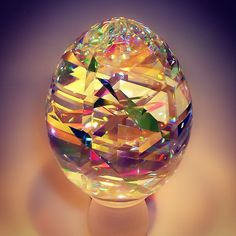 Optical glass sculpture of an Easter egg by Jack Storms