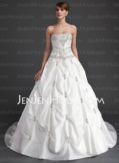 Wedding Dresses - $228.99 - Ball-Gown Strapless Cathedral Train Taffeta Wedding Dress With Ruffle Beadwork (002015939) http://jenjenhouse.com/Ball-Gown-Strapless-Cathedral-Train-Taffeta-Wedding-Dress-With-Ruffle-Beadwork-002015939-g15939