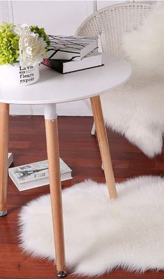 Super soft faux fur rug is a perfect accent for hard surfaces, comes in many colors to chose from. Fur is a good texture choice to balance out other elements in the space, add a soft touch. Faux Sheepskin Rug, Faux Fur Rug, Bedroom Flooring, Seat Pads, Sofa Chair, Home Decor Inspiration, Diy Home Decor, Carpet, Touch