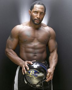 Ray Lewis shows off his physique during a 2006 SI photo shoot....