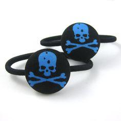 Skull and Crossbone Ponytail Holders  Skull Fabric by MelissaAbram, $5.25