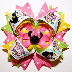 """4"""" Happy Birthday Minnie Mouse Polka Dots Pink Yellow Lime Green Stacked Hair Bow"""