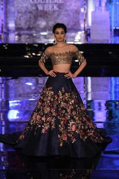 blue and gold #lehenga by Manish Malhotra ICW 2016 #shaadibazaar #manishmalhotra