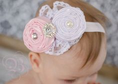 Baby headbands..BAby Hair bows..Hair bow..The Emma vintage inspired lace headband..fits toddlers...girls on Etsy, $15.50