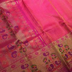 Deep pink Kanjeevaram Saree with intricate meenakari pallu and border is on our lust list! #angadigalleria #nofilter #banglore #100sareepact #bangalorediaries #lovesaris #karnataka #sariswag #angadi #angadibride #bridal #bridalmusthaves #weddingsaree #weddingtrousseau