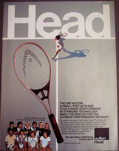 Head - 1981 - The 1981 Vector #advertising #oldads #vintageads Vintage Sport, Vintage Ads, Giant Steps, Old Ads, Tennis Racket, Tacos, Advertising, Vintage Advertisements, Retro Ads