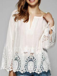 Blouses&Shirts | Sweet Lace Patchwork Flare Sleeve Blouse #summer #fashion #white #blouse