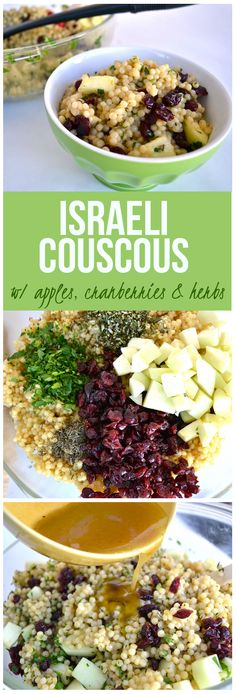 israeli couscous with apples, cranberries & herbs!  Simple side dish packed with flavor!