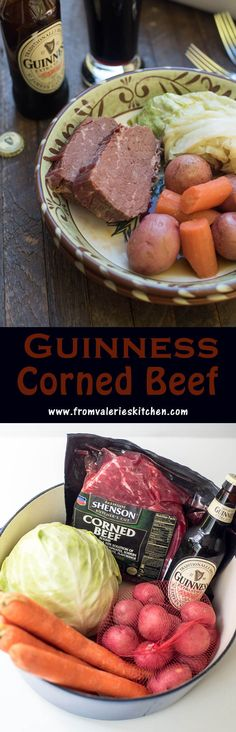 Guinness and beef broth cook down into a rich cooking liquid for corned beef, cabbage, carrots, and potatoes. Guinness Corned Beef is a one-pot wonder! (recipe for irish stew st pattys) Easy Meat Recipes, Irish Recipes, Crockpot Recipes, Cooking Recipes, Skillet Recipes, What's Cooking, Pork Recipes, Yummy Recipes, Recipies