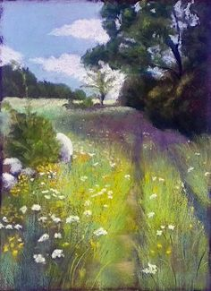 pastel painting - fading rutted road... we still want to follow it, wherever it and the lazy day may take us!