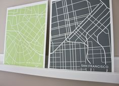 Modern City Maps... Love these!! Buy them here:  http://www.etsy.com/shop/jennasuemaps