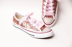 1031e8f8e30d Tiny Sequin - Full Starlight Converse® Rose Gold Canvas Low Top Sneakers  with Rhinestone Toes. Etsy