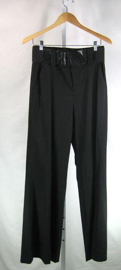 ALICE + OLIVIA Black High Waist Belted Wide Leg Dress Pant Size 8 #AliceOlivia #DressPants