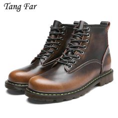 d6832a39e54 Genuine Leather Men Waterproof Boots Winter Working Boots Fur Snow Shoes  Bronze Vintage Oxford Ankle Boots High Quality
