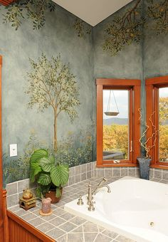 Fresco bath with stencils. Beautiful wall stencils by Cutting Edge Stencils. Home Wall Painting, Mural Painting, Faux Painting, Wall Paintings, Bathroom Remodel Pictures, Bathtub Remodel, Deco Addict, Interior And Exterior, Interior Design