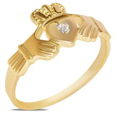 .015cttw Claddagh Ring in 10k Yellow Gold - Jewelry Deals 80% OFF + $25 OFF extra discount on purchases $500 & UP ! Enter PINPROMOT coupon at CHECKOUT to get $25 OFF when you place your order @ NissoniJwelry.com