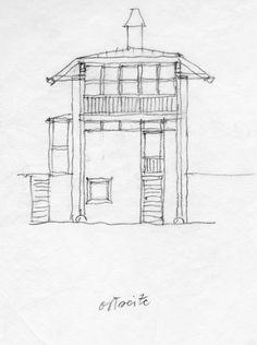 Architekturzentrum Wien - Johannes Spalt: Haus Dr. Draxler, Nussdorf am Attersee, 1987–88: Ostansicht, Bleistift auf Papier, 30 x 25 cm