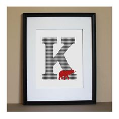 Personalized Alabama Houndstooth Initial Monogram 8x10 Art Print with Elephant. $16.00, via Etsy.