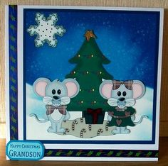 Christmas Mice And Holiday Tree on Craftsuprint designed by Tanya Hall - made by Cheryl French - Printed onto glossy photo paper. Attached base image to card stock using ds tape. Built up image with 1mm foam pads. Added ribbon and glitter. - Now available for download!