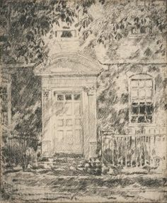 """""""Portsmouth Doorways,"""" Frederick Childe Hassam, etching on paper, 5 x 4 private collection. Vintage Wall Art, Vintage Walls, Portsmouth New Hampshire, National Gallery Of Art, Classic Image, Canvas Prints, Art Prints, Doorway, Heritage Image"""