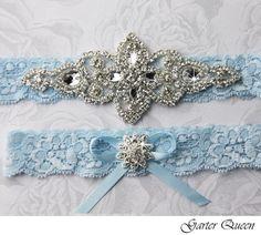 Blue Wedding Garter Set. Blue Lace Garter Set Lace by GarterQueen