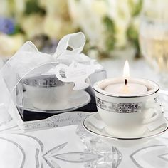 Mini Teacup Tealight Holder by Beau-coup/ could be a cute DIY with your china maybe for a daughters wedding...