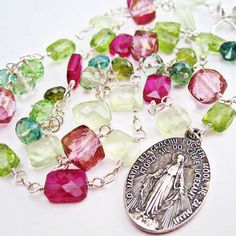 Use code PIN10 for 10% off in my Etsy shop! Pink and Green Sparkling Gemstone Necklace, Antique Polish Catholic Miraculous Medal, Pink and Green Quartz, Peridot and Prehnite