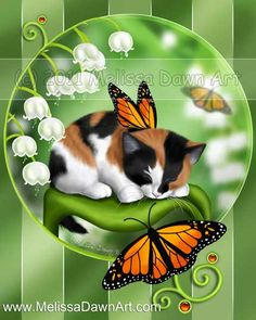 """Butterfly Kittens 1: Lily Bells - """"A sweet little calico kitten perches on a leaf among the white lily bell flowers, kept company by some beautiful monach butterflies."""" by Melissa Dawn"""