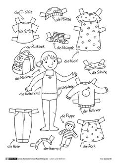 Living and living - clothes dress-up doll girl - Spanjardt, Papier Kind, Diy For Kids, Crafts For Kids, German Language Learning, Diy Crafts To Do, Paper Dolls Printable, Dress Up Dolls, Free Printable Coloring Pages, Pre School