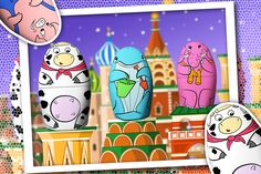 A free app for kids based on the classical Russian Dolls. Available on Nov. Puzzles Für Kinder, Puzzles For Kids, Savanna Animals, Farm Animals, Ipod, Think Education, Halloween Creatures, Kids Graphics
