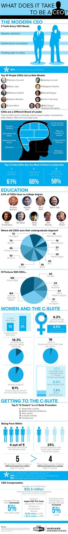 Some interesting findings: Women lag significantly behind men in the C-Suite (amounting to just 4.2% of Fortune 500 CEOs), 80% of CEOs descr...