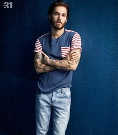 David Alexander Flinn sports a pocket tee from LE 31 that has been updated with playful stripes.