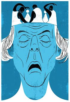 """Valda Setterfield and John Scott's """"Lear"""" plays at New York Live Arts. Illustration by Edel Rodriguez."""