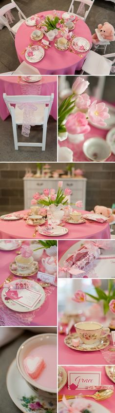 Perfectly Pink Tea Party Birthday for Girls♥PM Girls Tea Party, Tea Party Theme, Princess Tea Party, Tea Party Birthday, Birthday Party Themes, Girl Birthday, Birthday Ideas, Birthday Images, Tea Party For Kids