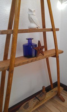 Vintage Crutches & Antique Re Claimed Barn Wood Shelves. Unique One Of a Kind Piece of Rustic Home Decor. Natural Wood Grain. Hand Made USA