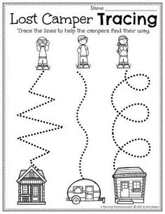 Tracing: an early writing Activity. - Pre-k Camping Worksheets