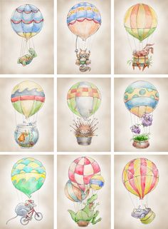 Going in a slightly different direction from the airplane room, still aviation, but Hot Air Balloons with animals!