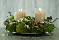 DIY: Advent wreath made of natural material with moss & branches, DIY: Advent wreath made of natural material with moss & twigs decorative kitchen. Woodland Christmas, Green Christmas, Handmade Christmas, Christmas Wreaths, Christmas Decorations, Minimal Christmas, Christmas Tree, Advent Wreath, Diy Wreath