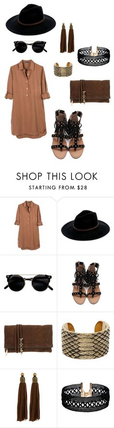 """""""Boho bae"""" by teennetwork ❤ liked on Polyvore featuring United by Blue, Billabong, Dsquared2, Yves Saint Laurent, Auden and Vanessa Mooney"""