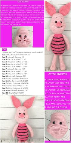 Amigurumi related to each other, we& adding a new one to our great shares. Amigurumi piglet free crochet pattern is waiting for you in this article. Disney Crochet Patterns, Crochet Disney, Crochet Amigurumi Free Patterns, Crochet Animal Patterns, Crochet Doll Pattern, Crochet Dolls, Free Crochet, Crochet Baby, Crochet Animal Amigurumi